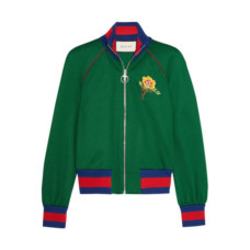 gucci appliqued satin jersey bomber jacket