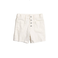 madewell high rise denim boyshorts in tile white button through edition