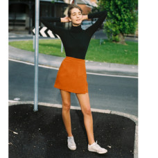 caves collect frank burnt orange wrap skirt