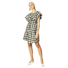 house of sunny gingham asymmetric dress with ruffle detail