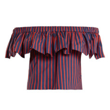 la doublej editions riviera striped cotton cropped top