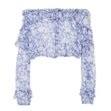 loveshackfancy off the shoulder floral print cotton and silk blend top