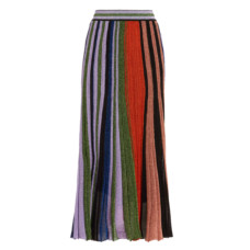 missoni pleated metallic crochet knit midi skirt