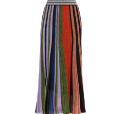 Pleated Metallic Crochet-Knit Midi Skirt by Missoni
