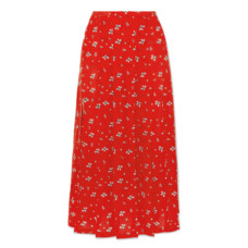 rixo london georgia pleated floral print silk crepe de chine midi skirt
