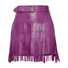 roberto cavalli belted fringed leather mini skirt