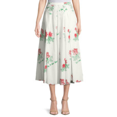 rosie assoulin say it with flowers poplin skirt