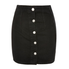 topshop moto button front denim mini skirt