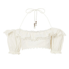 zimmermann melody off shoulder crop top