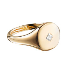 david yurman cable collectibles princess cut mini pinky ring in 18k gold with diamonds