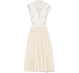 Embellished Broderie Anglaise Linen and Cady Midi Dress by Chloé