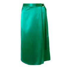 dion lee wrap effect silk satin midi skirt