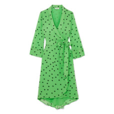 ganni polka dot georgette wrap dress
