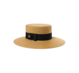 Grosgrain-Trimmed Glittered Straw Hat by Gucci