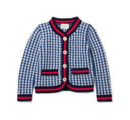 Appliquéd Houndstooth Intarsia Wool Jacket by Gucci Kids