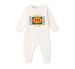 Printed Cotton-Jersey Babygrow by Gucci Kids