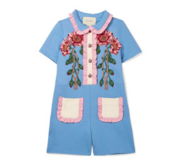 Ruffle-Trimmed Appliquéd Jersey Romper by Gucci Kids