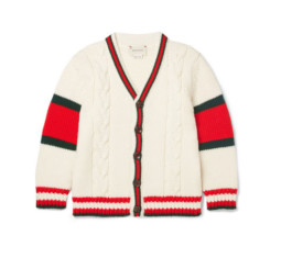 Striped Cable-Knit Wool Cardigan by Gucci Kids