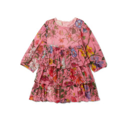 Tiered Floral-Print Silk-Crepon Dress by Gucci Kids