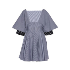 jw anderson pleated striped cotton seersucker mini dress