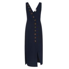 khaite v neck asymmetric button down dress