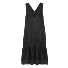 lee mathews carrie frayed linen midi dress