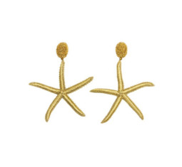 Gold Threaded Star Fish Earrings by Oscar de la Renta