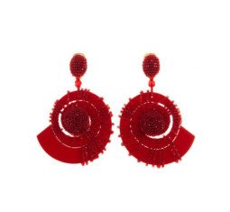 Mulberry Beaded Red Seashell Earrings by Oscar de la Renta