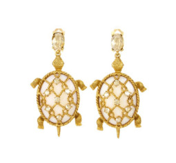 Shell Turtle Earrings by Oscar de la Renta