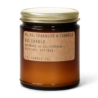 p.f. candle co no 4 teakwood and tobacco soy candle