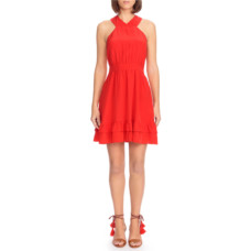 sezane alma silk fit and flare dress