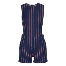 3x1 cutout striped denim playsuit