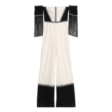 alexis off the shoulder fringe trimmed corded lace jumpsuit