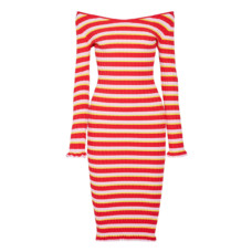 altuzarra socorro off the shoulder striped stretch knit dress