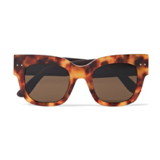 bottega veneta square frame tortoiseshell acetate and embossed leather sunglasses
