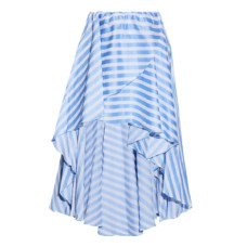 caroline constas asymmetric wrap effect striped cotton poplin skirt