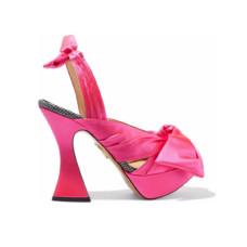 charlotte olympia bow embellished houndstooth trimmed satin platform sandals