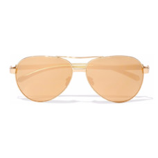 linda farrow aviator style gold tone mirrored sunglasses