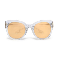 linda farrow cat eye silver tone and acetate mirrored sunglasses