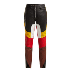 marques almedia panelled leather biker trousers