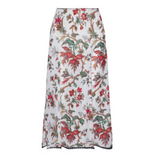 mcq alexander mcqueen floral print crepe de chine midi skirt