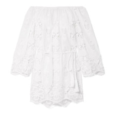miguelina brigitte off the shoulder crocheted cotton voile mini dress