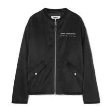 mm6 maison margiela printed satin bomber jacket