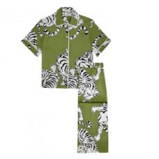 olivia von halle daria rola silk shirt and wide leg trouser set
