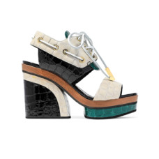 pierre hardy deer color block croc effect patent leather platform sandals