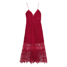 self portrait ruffled georgette trimmed guipure lace dress