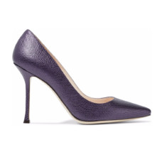 sergio rossi iridescent snake effect leather pumps