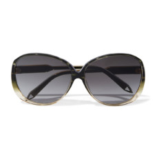 victoria beckham round frame acetate and gold tone sunglasses