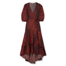 ganni bijou leopard print cotton poplin wrap dress