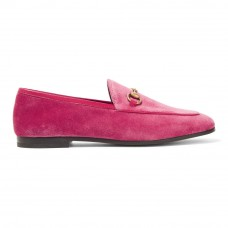 gucci jordaan horsebit detailed leather trimmed velvet loafers